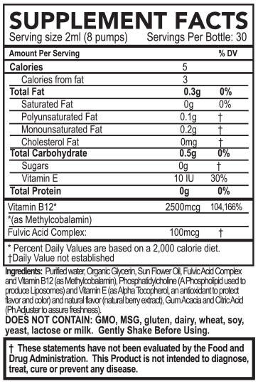 Purathrive Micelle Liposomal Vitamin B12 With Fulvic Acid